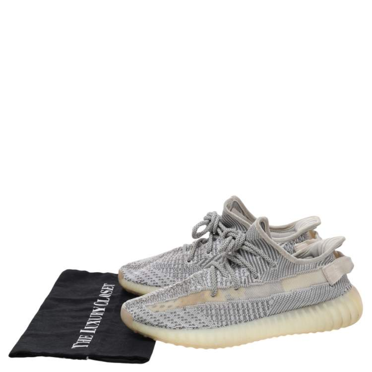 Yeezy x adidas White/Grey Knit Fabric Boost 350 V2 Static Low Top Sneakers Size 42
