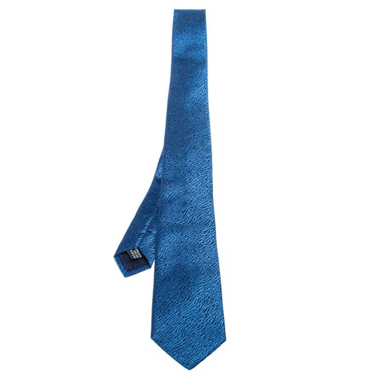 Yves Saint Laurent Blue Patterned Silk Tie