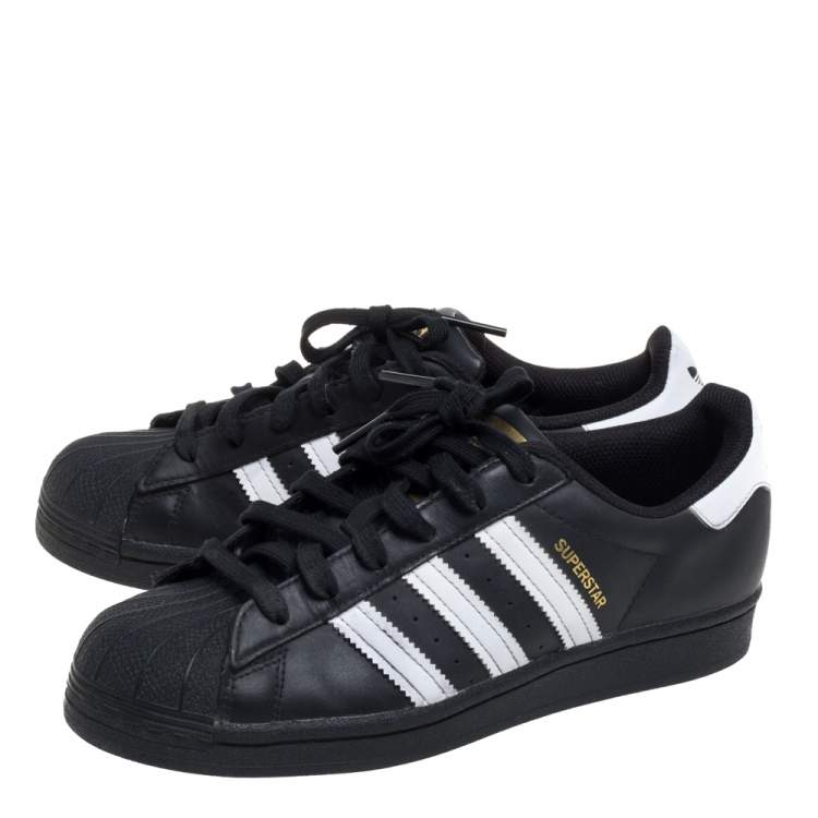 Adidas Black/White Leather And Rubber Superstar Low Top Sneakers ...