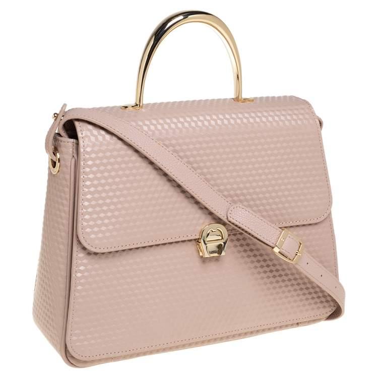 Aigner Nude Pink Embossed Leather Genoveva M Top Handle Bag