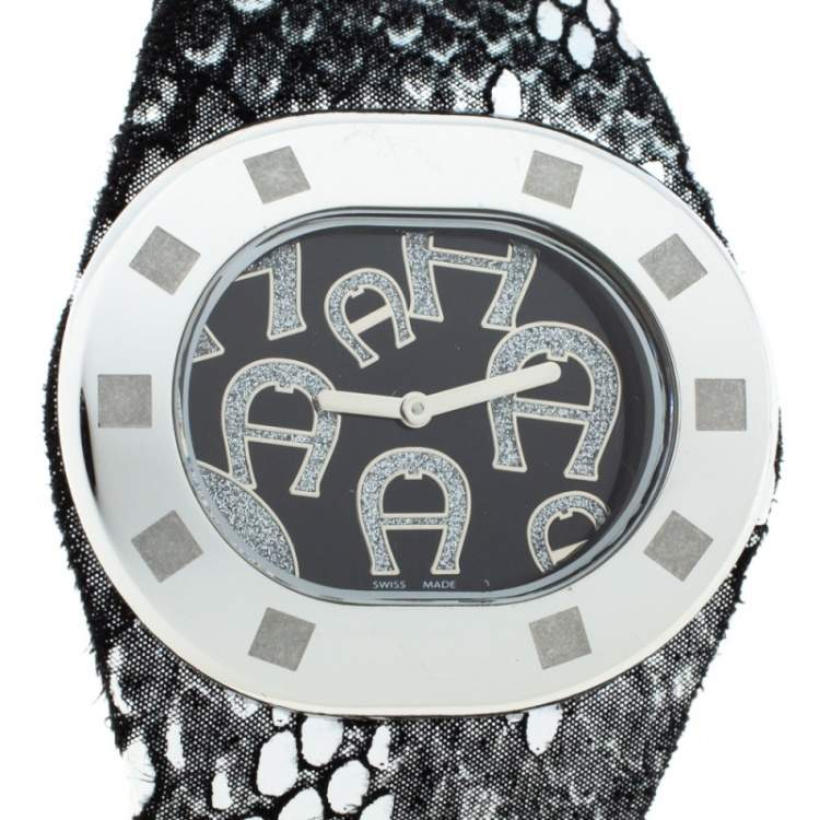 Aigner Black Stainless Steel Ravello Due A21000 Women's Wristwatch 43 mm