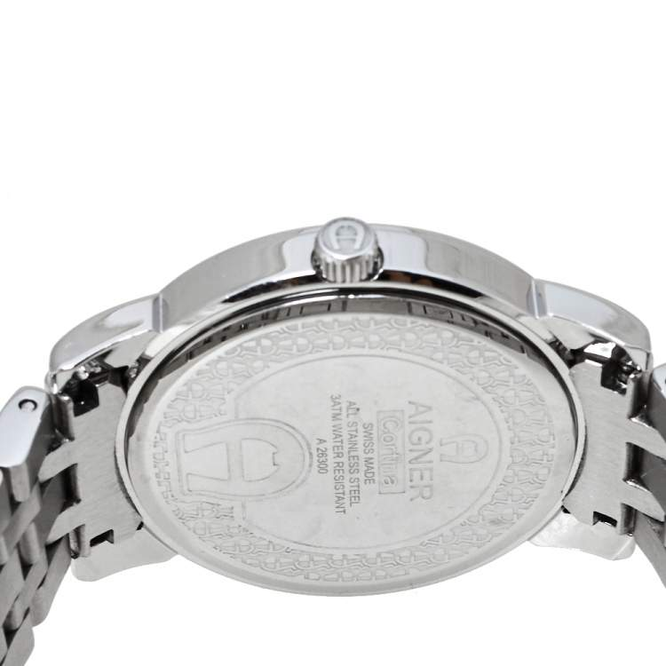 Aigner Silver White Mother Of Pearl Stainless Steel Diamonds Cortina A26300 Women's Wristwatch 36 MM