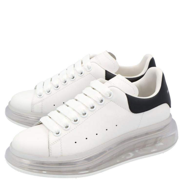 Alexander McQueen White/Black Leather Clear sole Sneakers Size EU 38.5