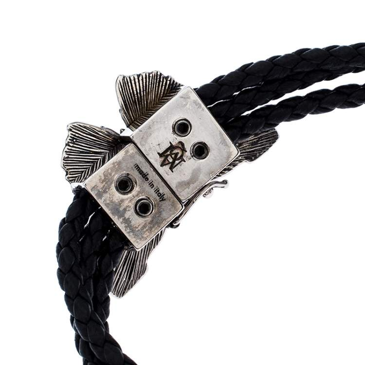 Alexander McQueen Black Braided Leather Crystal Butterfly Charm Layered Bracelet