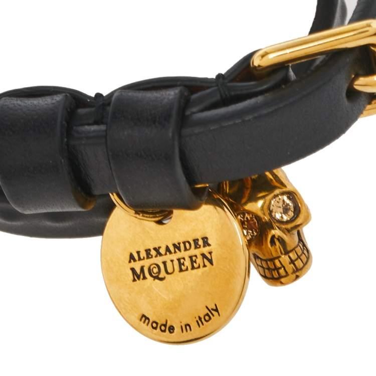 Alexander McQueen Black Leather Gold Tone Double Wrap Bracelet