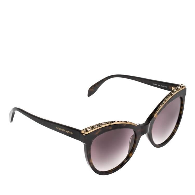 Alexander McQueen Blonde Havana/ Purple AM0181S Crystal Cateye Sunglasses