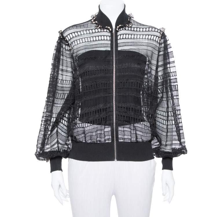 Alexander McQueen Black Lace Sheer Macrame` Jacket M
