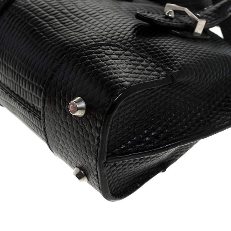 Alexander McQueen Black Lizard Embossed Leather Legend Crossbody Bag