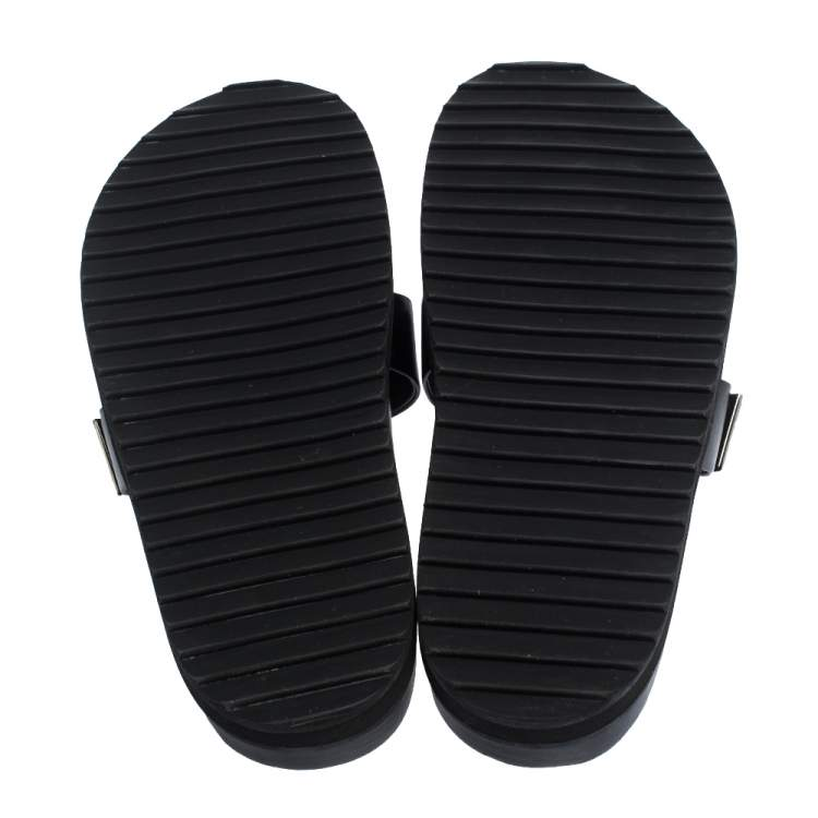 Alexander McQueen Black Crystal Embellished Double Strap Slide Sandals Size 38