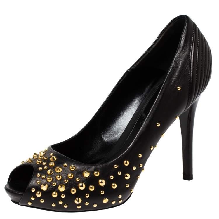 Alexander McQueen Black Leather Studded Peep Toe Pumps Size 38.5