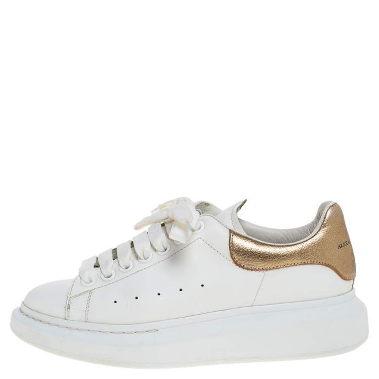 Alexander McQueen White/Gold Leather