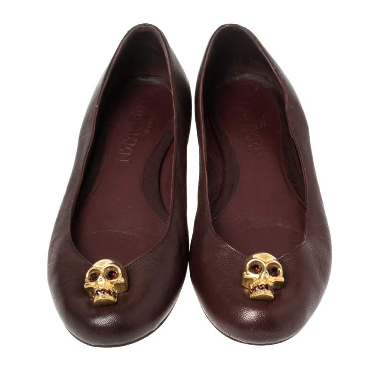 Alexander McQueen Burgundy Leather Skull City Ballet Flats Size 38