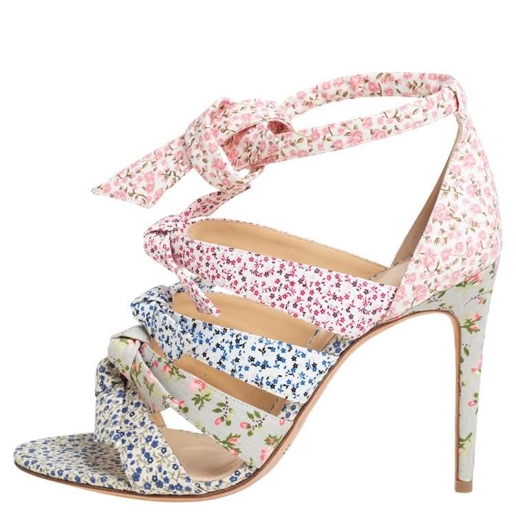 Alexandre Birman Multicolor Floral Printed Canvas Lolita Knot Strappy Sandals Size 41