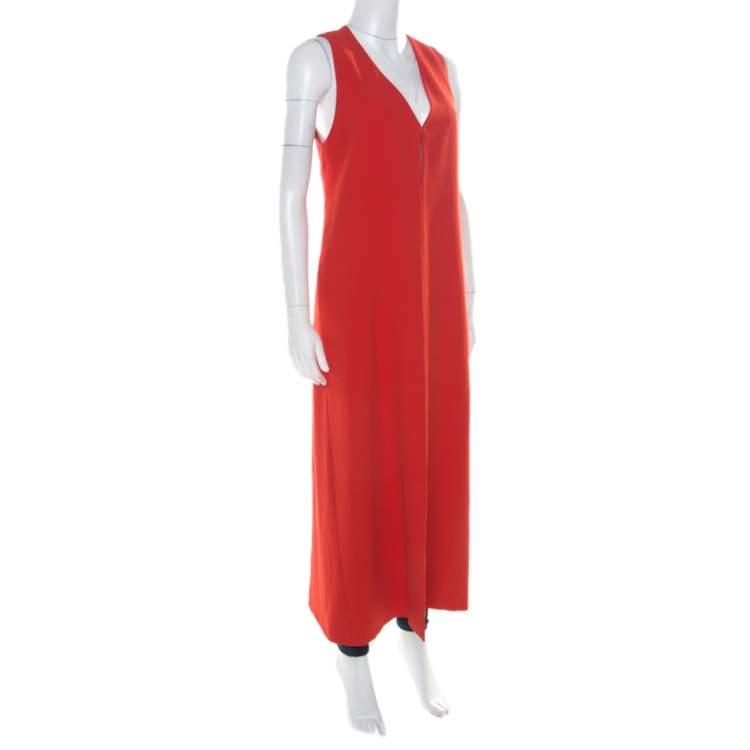 Alice + Olivia Poppy Red Crepe Sleeveless Angelica Maxi Vest S