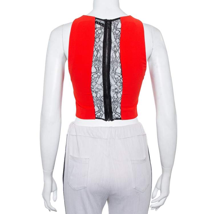 Alice + Olivia Red Crepe Lace Trim Detail Sleeveless Poppy Crop Top XS