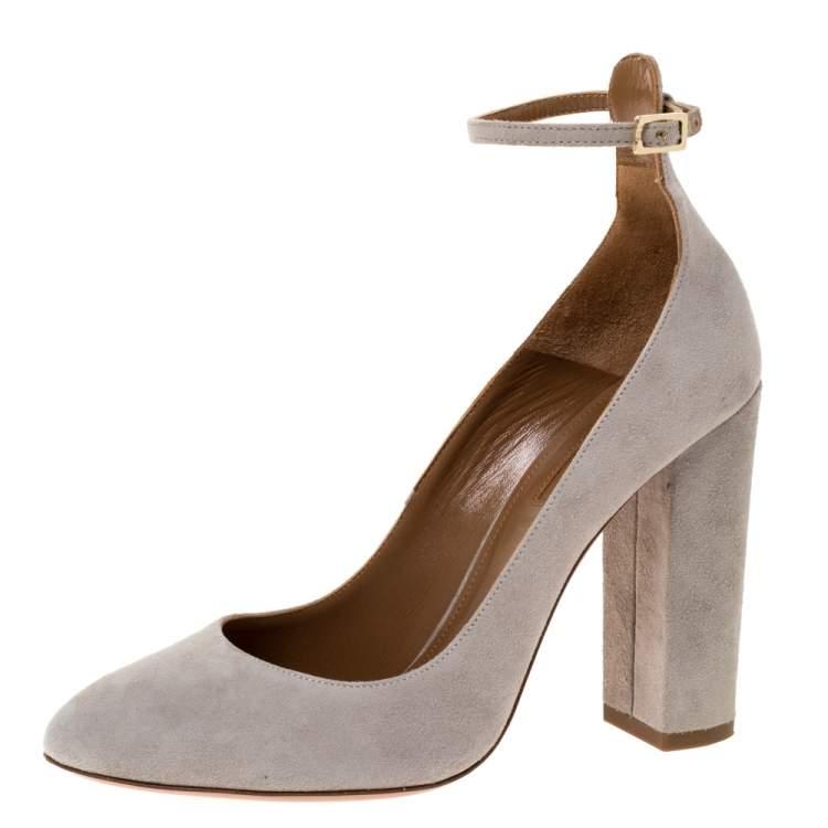 Aquazzura Grey Suede Alix Ankle Strap