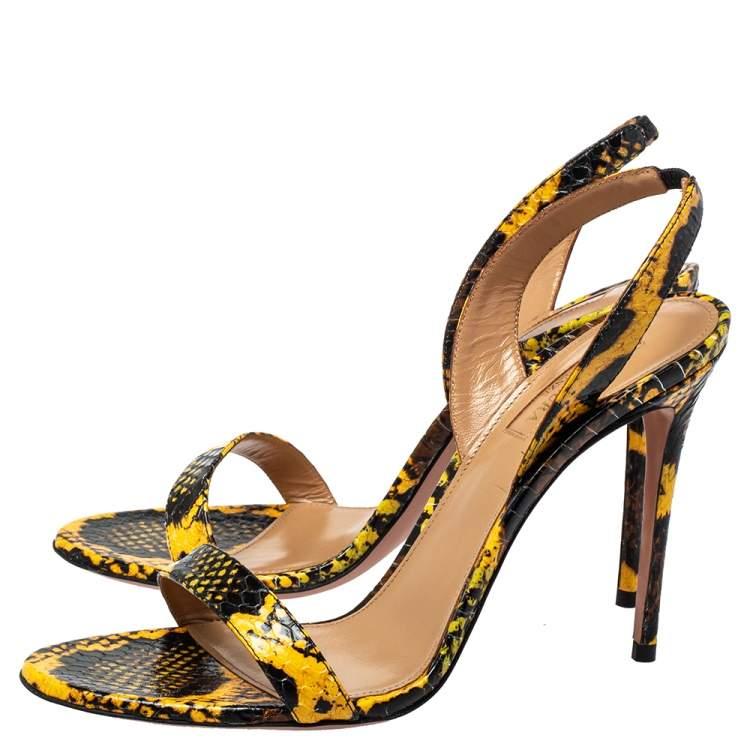 Aquazzura Yellow/Black Embossed Leather Slingback Sandals Size 39