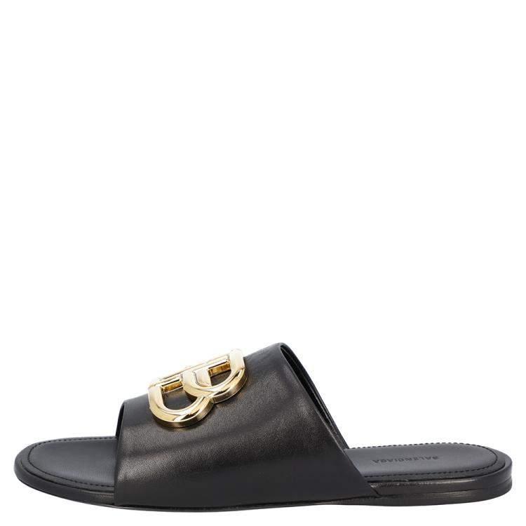 Balenciaga Black Leather Oval BB Mule Sandals Sneakers Size EU 36