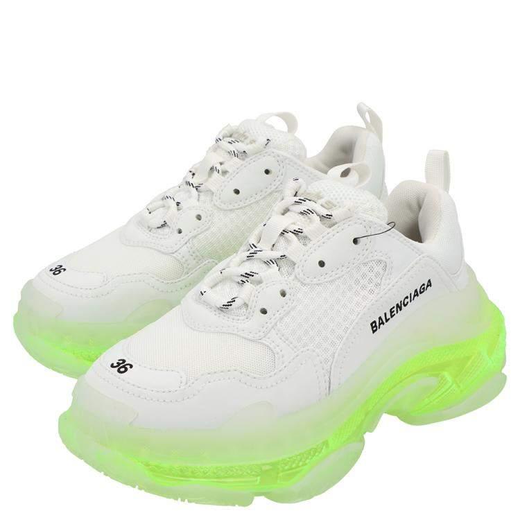 Balenciaga White/Neon Green Triple S Clear Sole Sneakers Size EU 39
