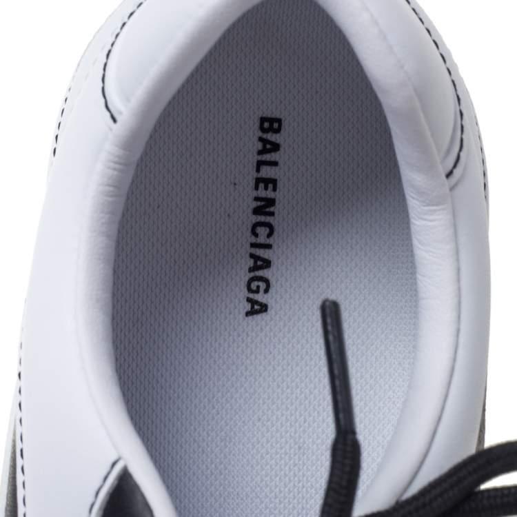 Balenciaga White Leather Zen Paneled Sneakers Size 38