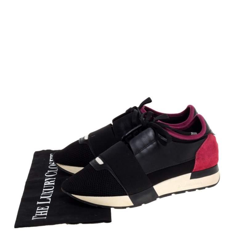 Balenciaga Black/Pink Leather And Mesh