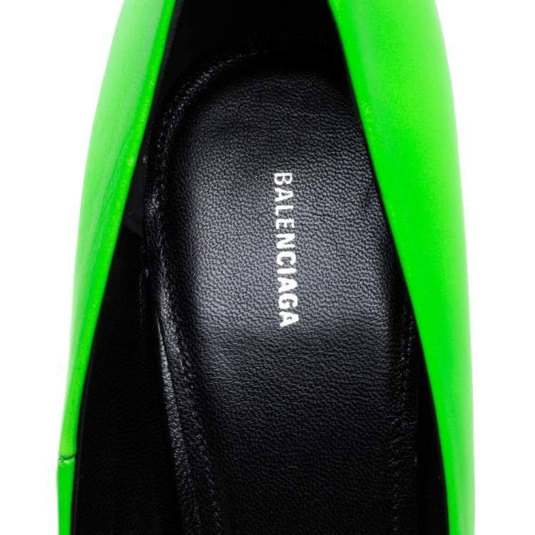 Balenciaga Green Leather Square Knife Pointed Toe Pumps Size 39