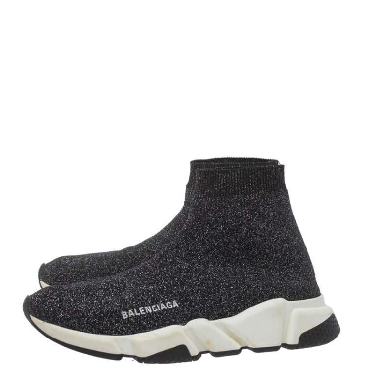 Balenciaga Black/Silver Glitter Knit Fabric Speed Trainer Sneakers Size 40