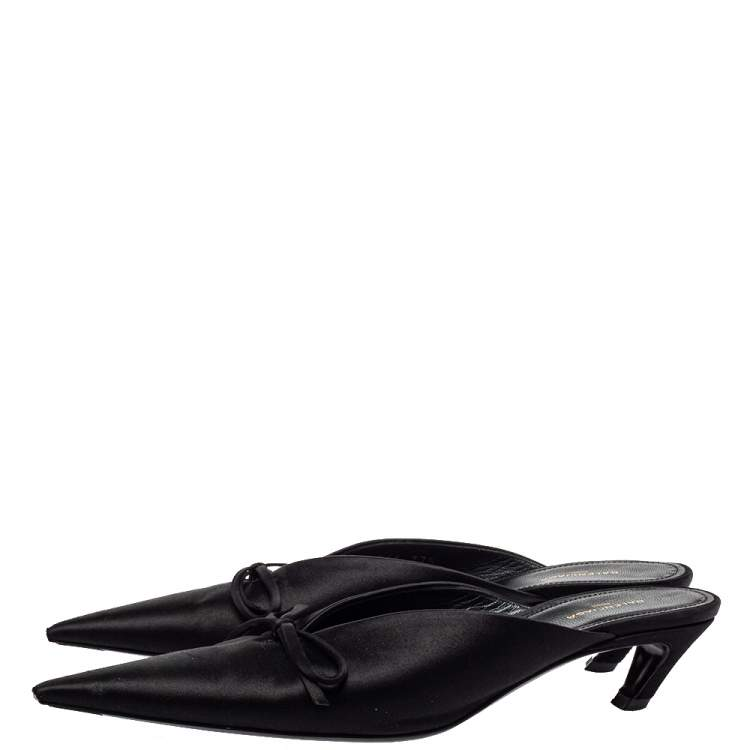 Balenciaga Black Satin Knife Mule Pumps Size 37.5