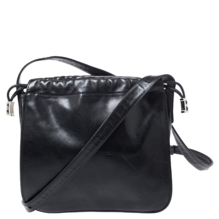 Bally Black Leather Drawstring Crossbody Bag