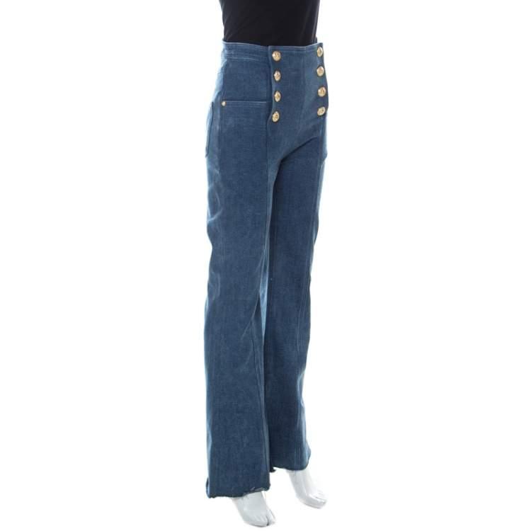 Balmain Blue Denim Medium Wash Gold Button Detail High Waist Flared Jeans S