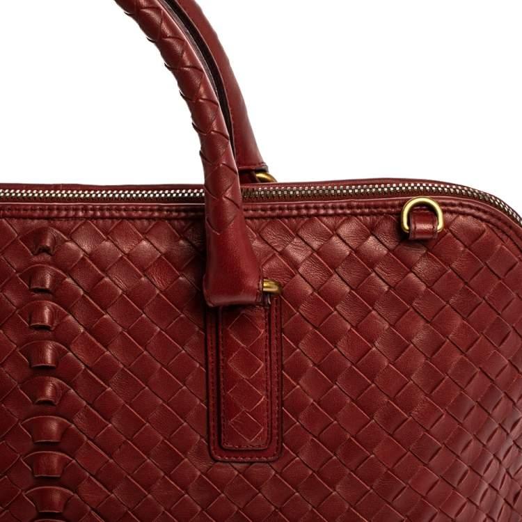 Bottega Veneta Red Intrecciato Leather Satchel