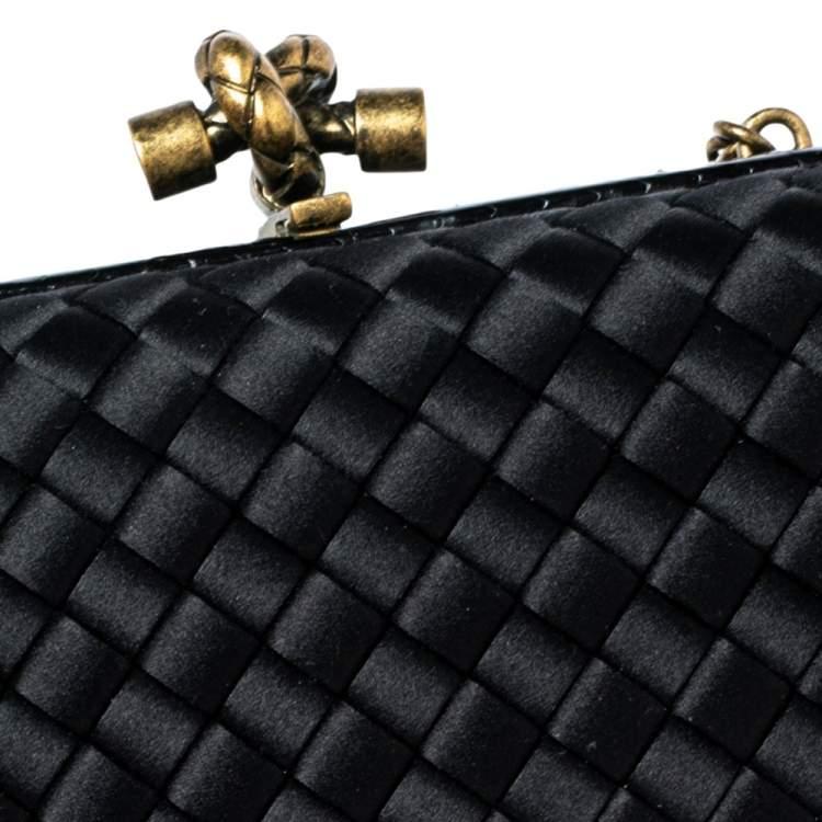 Bottega Veneta Black  Intrecciato Satin and Snakeskin Trim Chain Knot Clutch