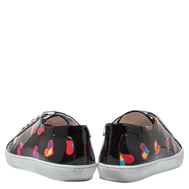 Boutique Moschino Black Patent Leather Heart Low Top Lace Up Sneakers Size 40