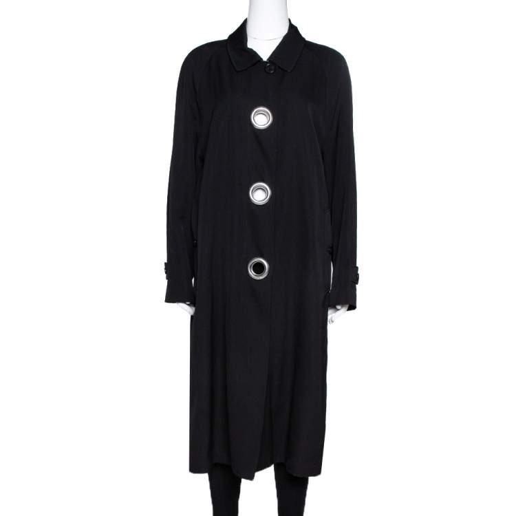 Burberry Black Wool Grommet Trim Camden Coat S