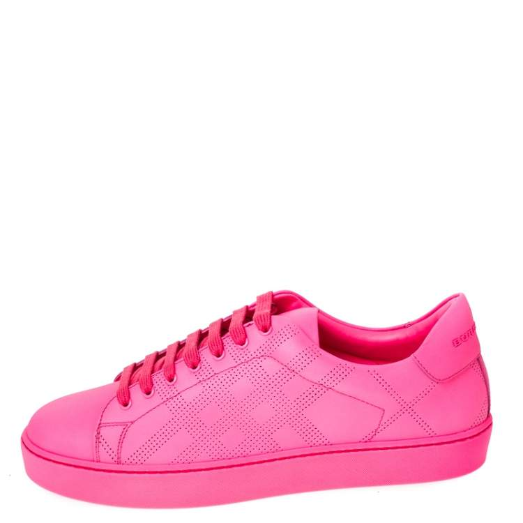 Burberry Pink Perforated Check Leather