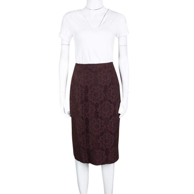 Burberry London Burgundy Floral Lace High Waist Skirt S