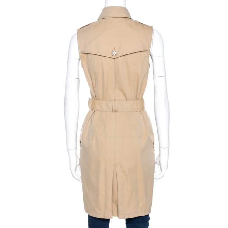 Burberry Brit Beige Cotton Sleeveless Trench Coat S