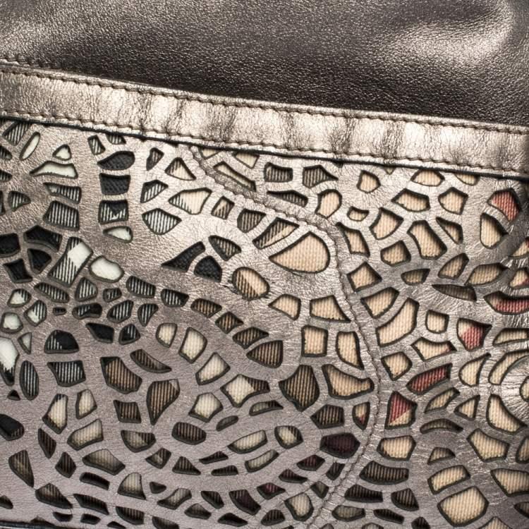 Burberry Metallic Grey Laser Cut Leather Satchel