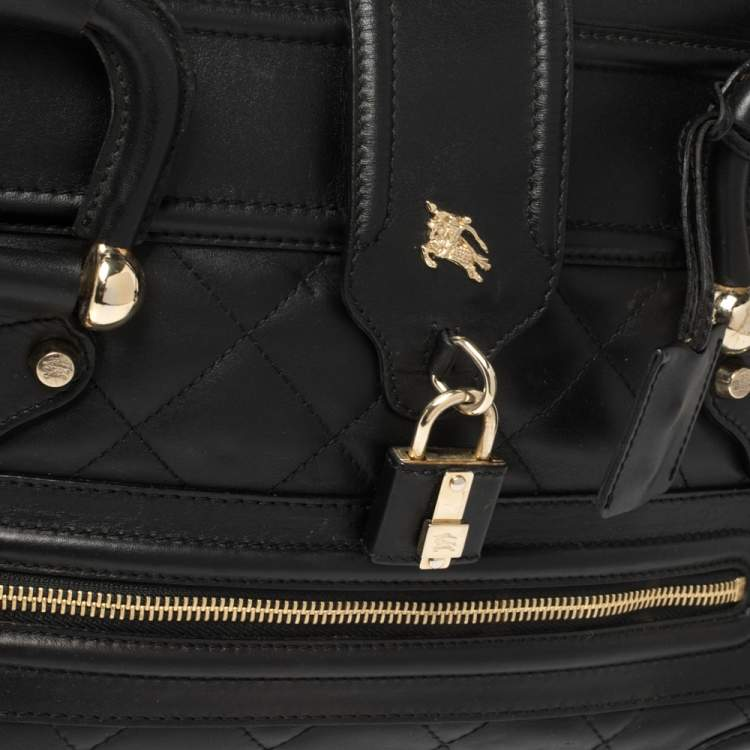 Burberry Black Quilted Patent Leather Manor Satchel