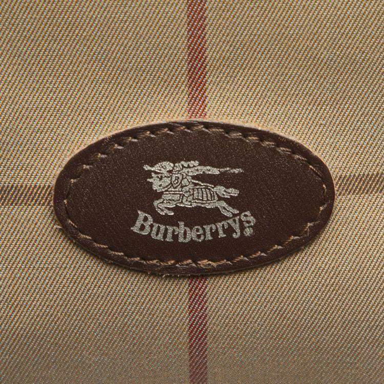 Burberry Brown/Beige Plaid Canvas Boston Bag