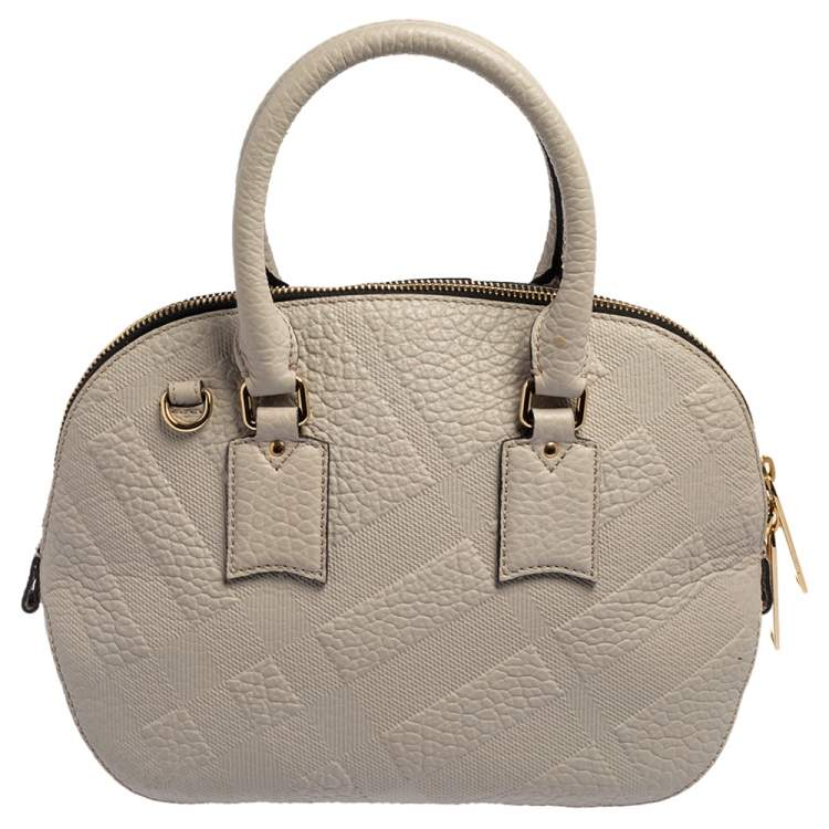 Burberry Grey Embossed Leather Small Orchard Bowler Bag