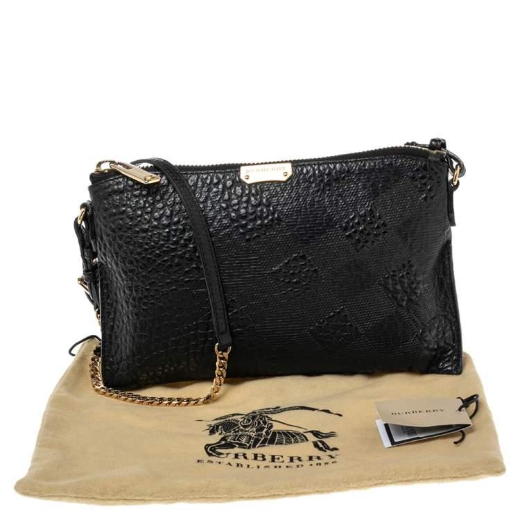 Burberry Black Grained Leather Peyton Crossbody Bag