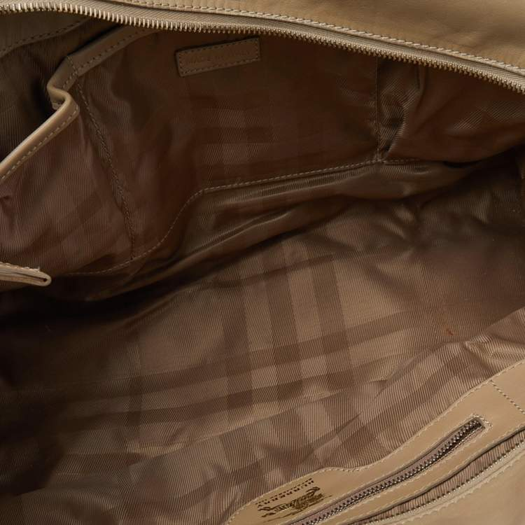 Burberry Beige Quilted Leather Manor Satchel