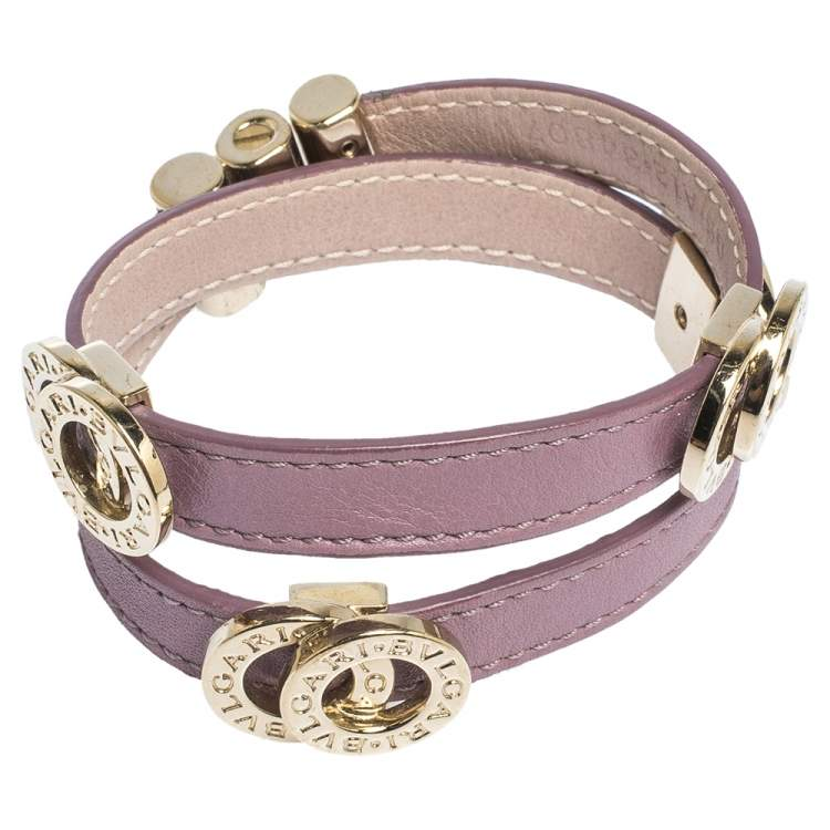 Bvlgari Lavender Leather Gold Tone Double Coiled Bracelet
