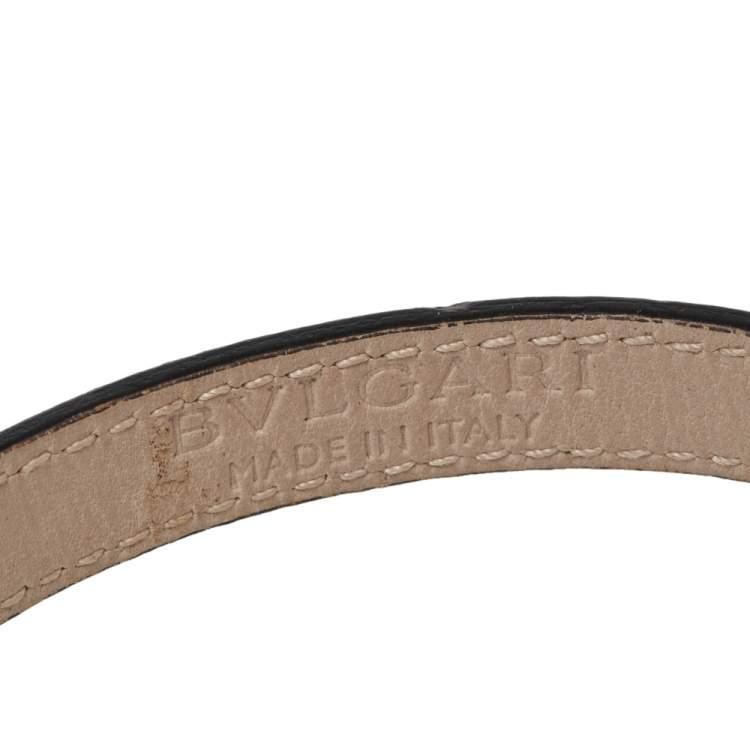 Bvlgari Black Karung Leather Gold Plated Serpenti Bracelet