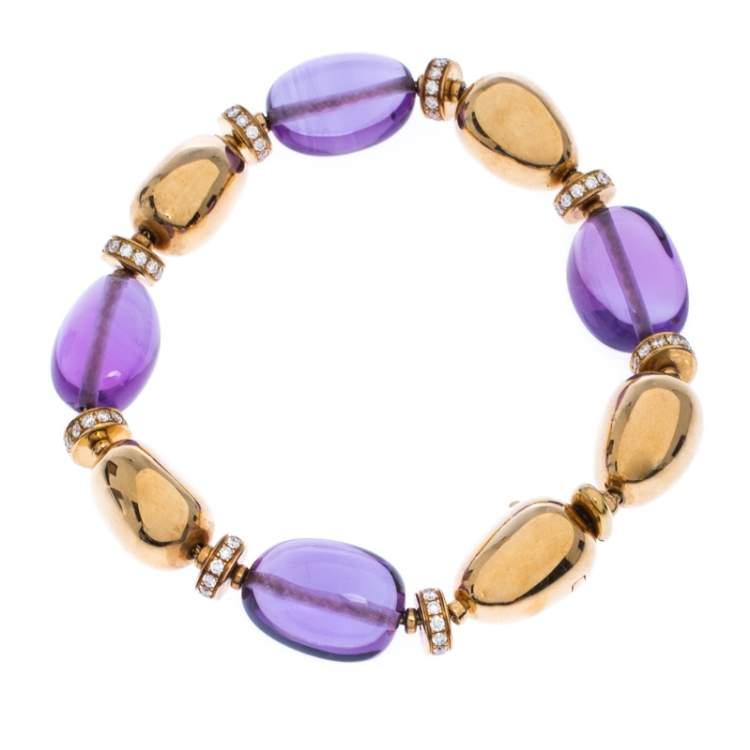 Bvlgari Diamond Amethyst 18k Yellow Gold Beaded Bracelet