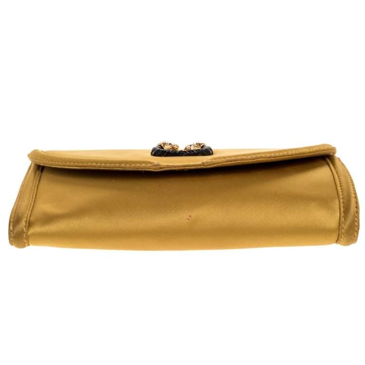 Bvlgari Gold Satin Leoni Flap Clutch