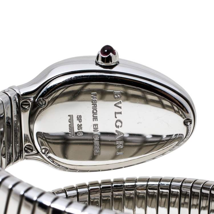 Bvlgari Silver Opaline Guilloché Soleil Stainless Steel Diamond Serpenti Tubogas 101910 Women's Wristwatch 35 mm