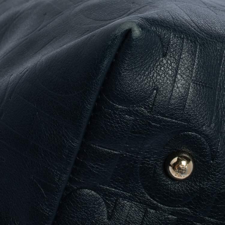 Carolina Herrera Blue Monogram Leather Matryoshka Tote