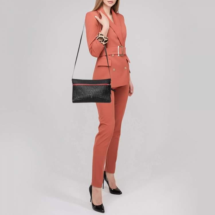 Carolina Herrera Black Monogram Embossed Leather Front Zip Crossbody Bag